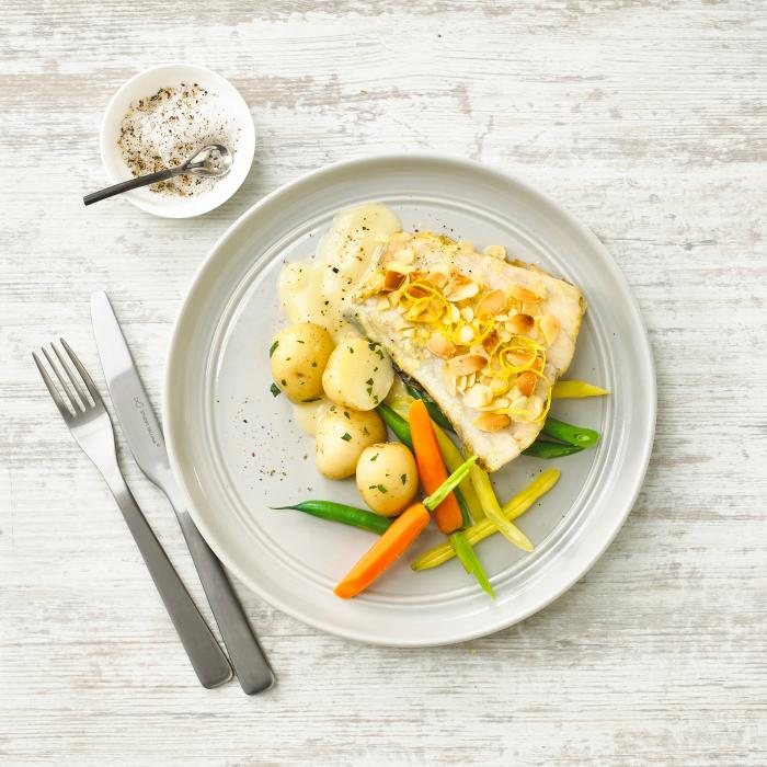 Oven Baked Almond Crusted Barramundi served with vegetables