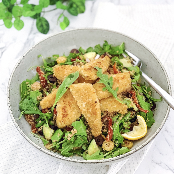 Couscous Salad with Crumbed Whiting