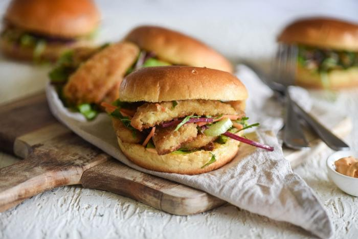 Crumbed Whiting Burgers with Sriracha Mayo & Slaw