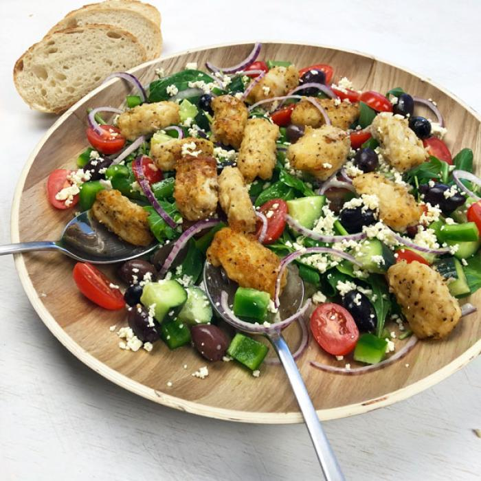 Salt & Pepper Squid with Greek Salad